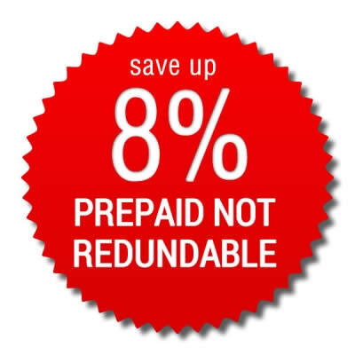 Prepaid Not Refundable Rate > save up 8%!