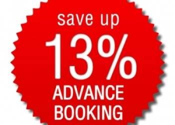 Prenota in anticipo > risparmi 13%!